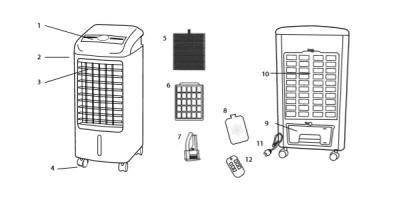 partes climatizador evaporativo portatil
